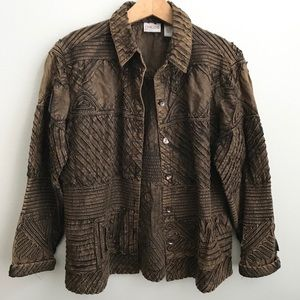 Chico's Size 1 Cotton Button Up Jacket Shacket Q
